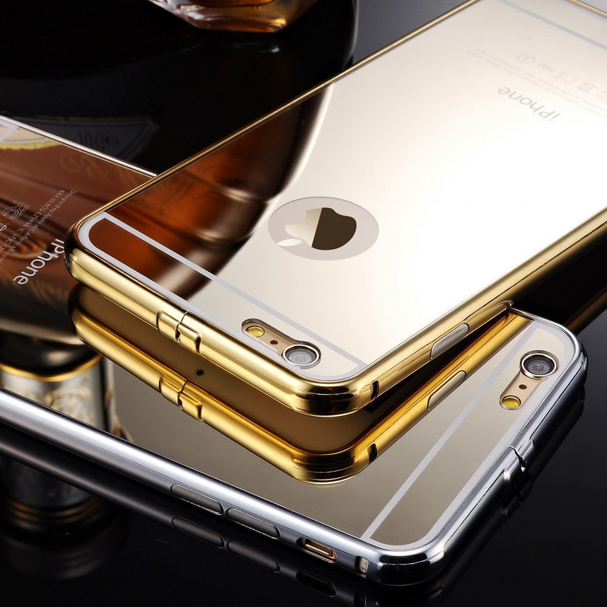 best sneakers f37c2 45e88 2 In 1 Brand Luxury Gold Mirror Case Cover For IPhone 6 IPhone 6 Plus,Coque  IPhone 6 6 Plus
